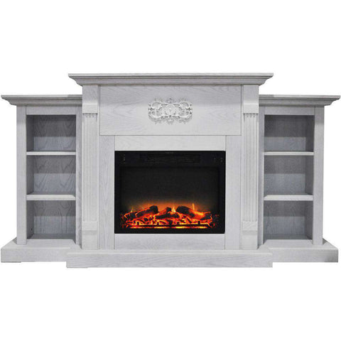 Cambridge CAM7233-1WHTLG2 Sanoma 72 Inch Built-in Bookshelves and an Enhanced Log Display White New