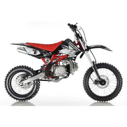 Apollo DB-X18 125 cc Manual Kick Start 4 Speed Dirt Bike Red New