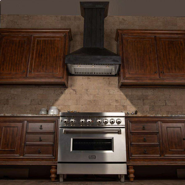 ZLINE 30 in. Wooden Wall Mount Range Hood in Rustic Dark Finish - Includes 900 CFM Motor (349DD-30)