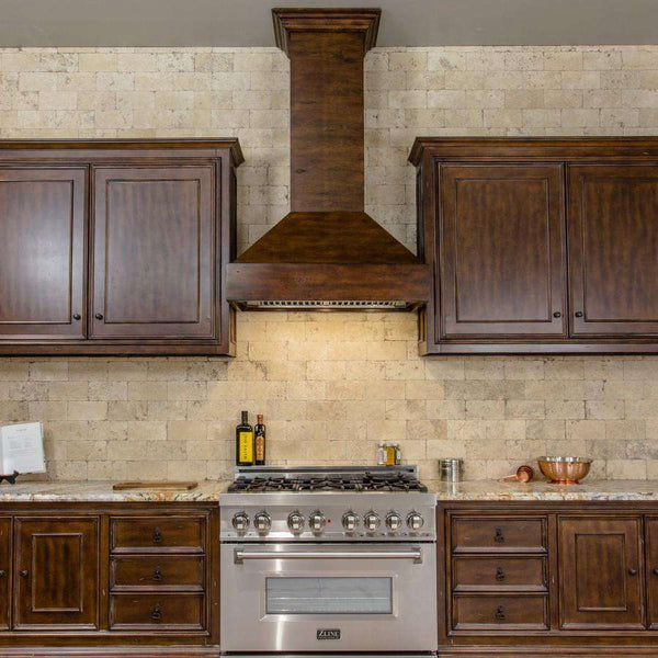 ZLINE 36 in. Wooden Wall Mount Range Hood in Walnut and Hamilton - Includes 900 CFM Remote Motor (355WH-RS-36)