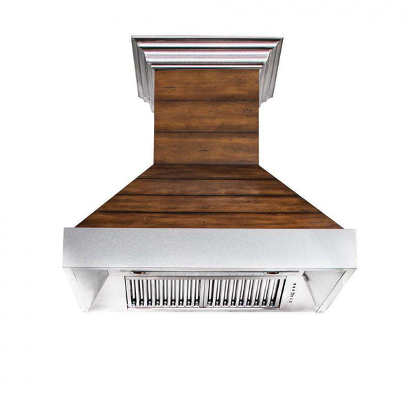 ZLINE 36 in. Wooden Wall Range Hood with Stainless Steel Accent - Includes 1200 CFM Motor (365BB-36)