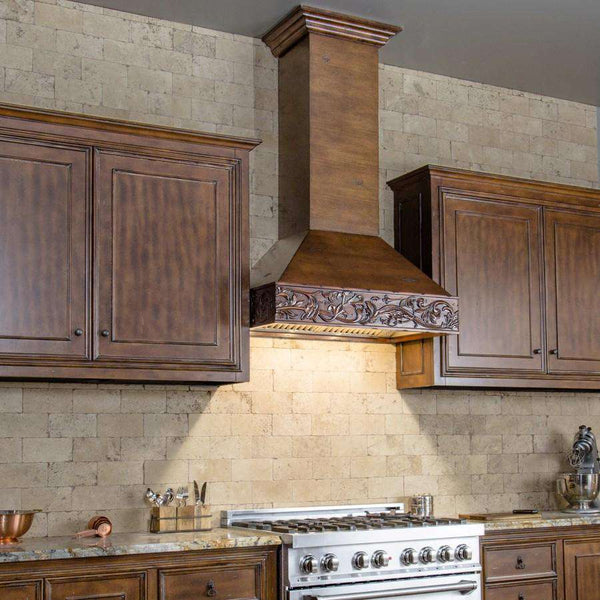 ZLINE 36 in. Wooden Wall Mount Range Hood in Walnut and Hamilton - Includes 900 CFM Remote Motor (373WH-RS-36)