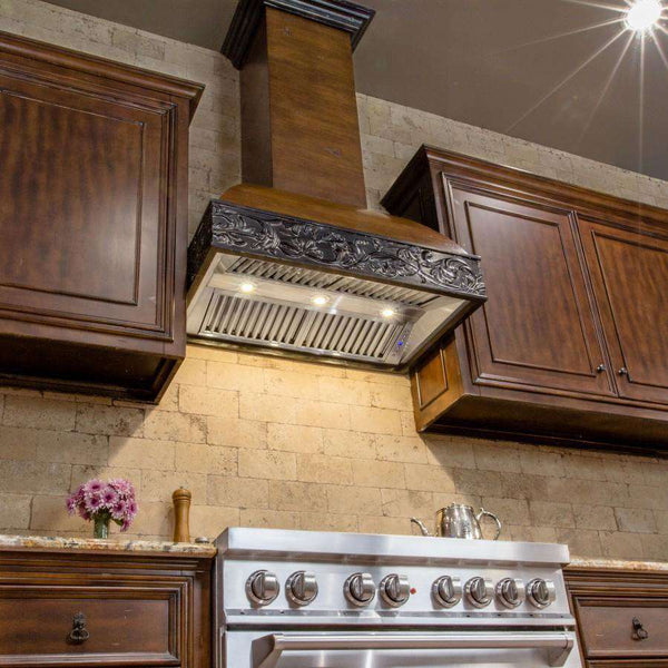 ZLINE 42 in. Wooden Wall Mount Range Hood in Antigua and Walnut - Includes 1200 CFM Remote Motor (393AR-RD-42)