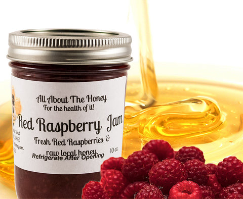 Rasberry Jam Raw Local Honey Preserve