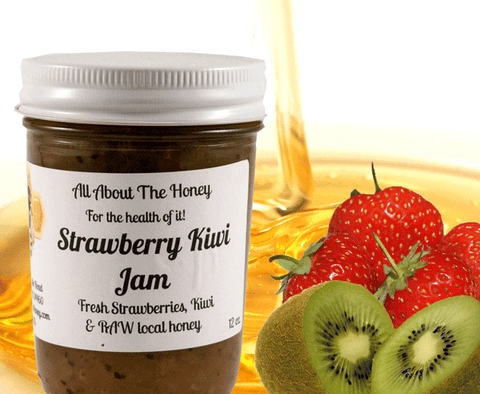 Strawberry Kiwi Jam- Raw Local Honey Preserve