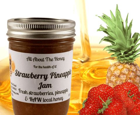 Strawberry Pineapple Jam- Raw Local Honey Preserve