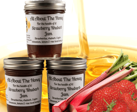 Strawberry Rhubarb Jam Raw Honey Preserve