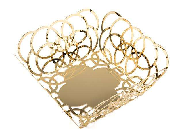 Elleffe Design North America :Bubble Gold Medium Serving Basket in Stainless Steel Grade 18/10 by Elleffe Design