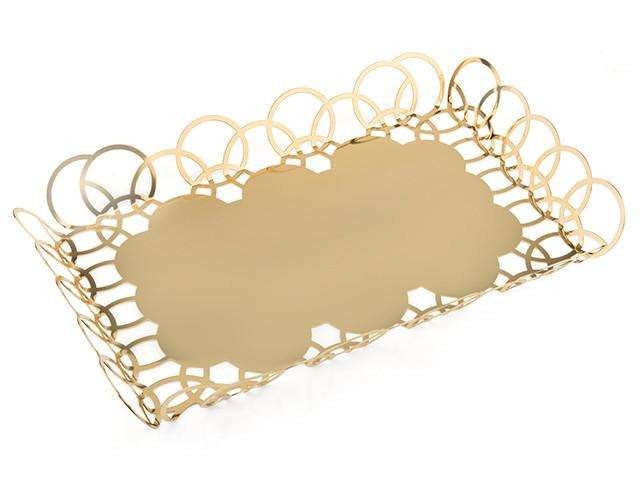 Elleffe Design North America :Bubble Gold Small Serving Tray in Stainless Steel Grade 18/10 by Elleffe Design