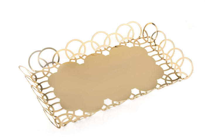Elleffe Design North America :Bubble Gold Medium Serving Tray in Stainless Steel Grade 18/10 by Elleffe Design