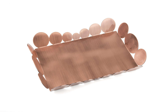 Elleffe Design North America :Ciocco Copper Medium Serving Tray in Stainless Steel Grade 18/10 by Elleffe Design