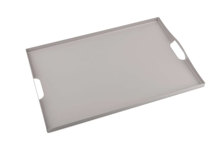 Elleffe Design North America :Cafe Late Matte Dove Gray Serving Tray in Stainless Steel Grade 18/10 by Elleffe Design