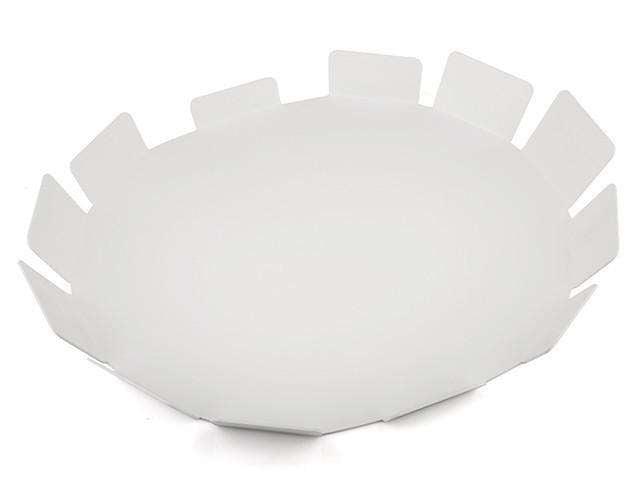 Elleffe Design North America :Sole Matte White Small Serving Tray in Stainless Steel Grade 18/10 by Elleffe Design