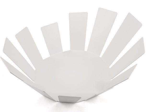 Elleffe Design North America :Sole Matte White Fruit Bowl in Stainless Steel Grade 18/10 by Elleffe Design
