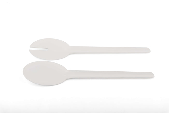 Elleffe Design North America :Matte White Salad Server Set in Stainless Steel Grade 18/10 by Elleffe Design