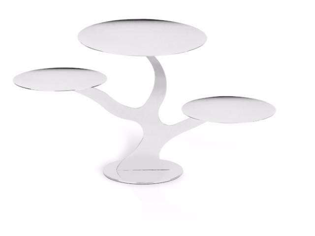 Elleffe Design North America :Alzate Branch 3 tier Serving Stand in Stainless Steel Grade 18/10 by Elleffe Design