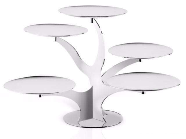 Elleffe Design North America :Alzate Branch 5 Tier Serving Stand in Stainless Steel Grade 18/10 by Elleffe design