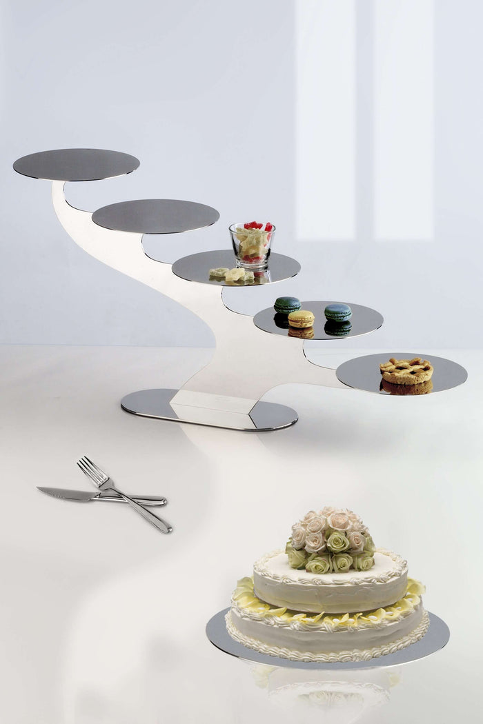 Elleffe Design North America :Alzate Step 5 Tier Serving Stand in Stainless Steel Grade 18/10 by Elleffe Design
