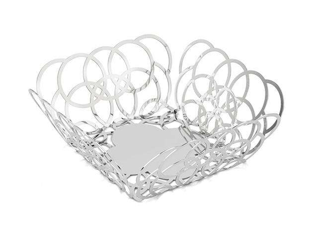 Elleffe Design North America :Bubble Medium Square Serving Basket in Stainless Steel Grade 18/10 by Elleffe Design