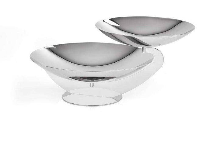 Elleffe Design North America :Centrotavola Two Tiered Small Serving Stand in Stainless Steel Grade 18/10 by Elleffe Design
