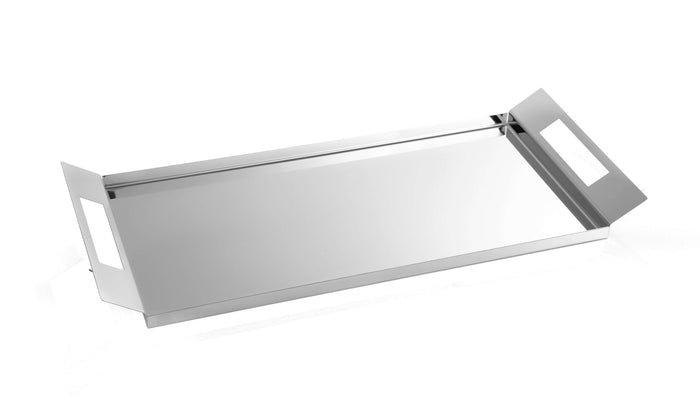 Elleffe Design North America :Happy Hour Matte Dove Gray Serving Tray in Stainless Steel Grade 18/10 by Elleffe Design
