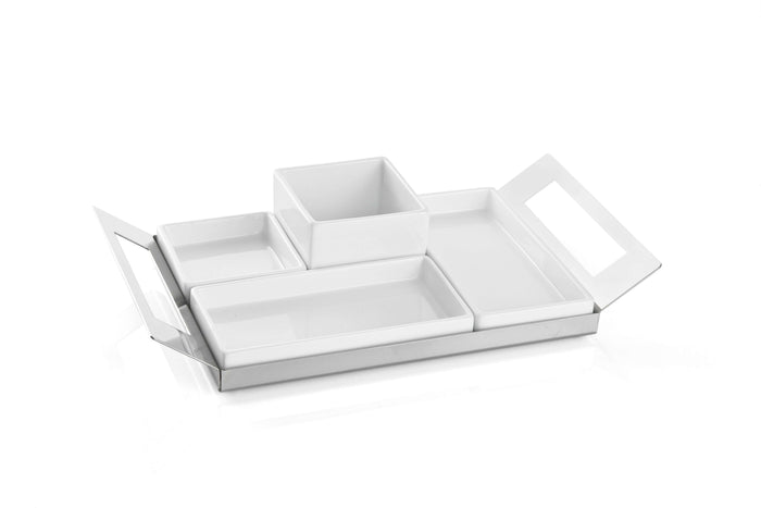 Elleffe Design North America :Happy Hour 5 Piece Sectional Serving Tray in Stainless Steel Grade 18/10 by Elleffe Design