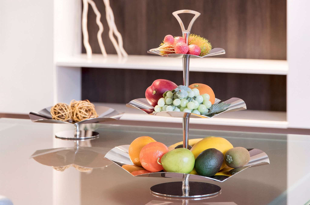 Elleffe Design North America :Alzate Concave 3 Tier Serving Stand in Stainless Steel Grade 18/10 by Elleffe Design