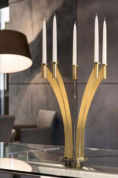 Elleffe Design North America :Candelieri Gold Tall 5 Flame Candleabra in Stainless Steel Grade 18/10 by Elleffe Design