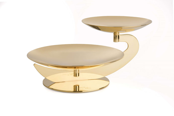 Elleffe Design North America :Centrotavola Gold Large Two Tier Serving Stand in Stainless Steel Grade 18/10 by Elleffe Design