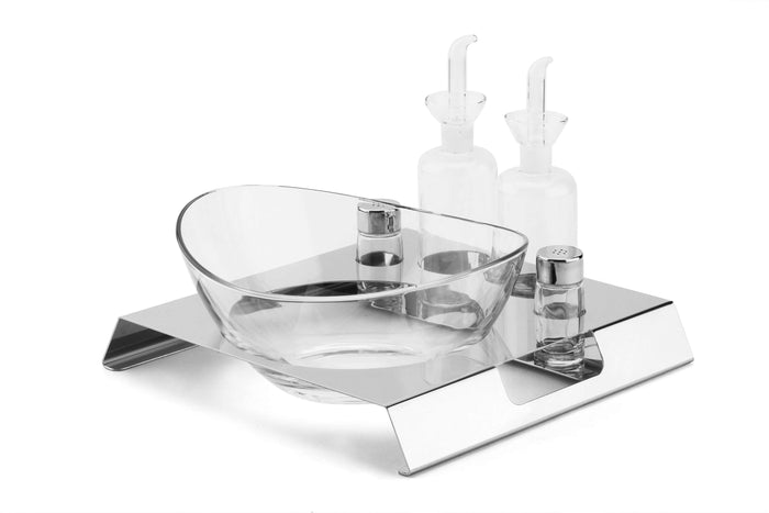 Elleffe Design North America :Lunch Matte White Salad Station in Stainless Steel Grade 18/10 by Elleffe Design