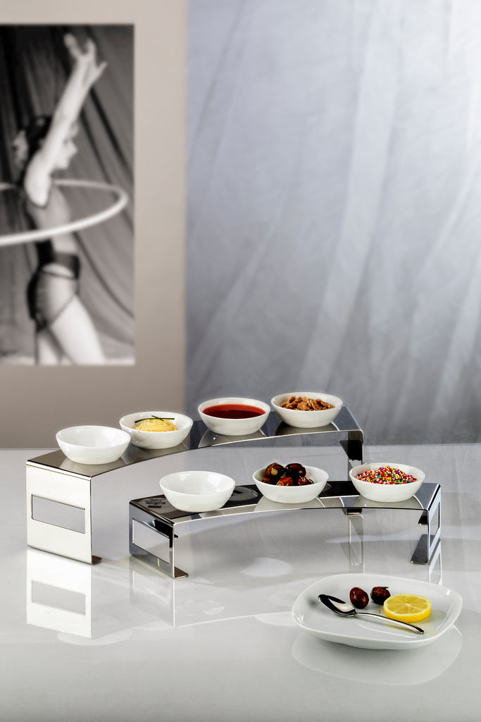 Elleffe Design North America :Lunch 3 Bowl Condiment Stand in Stainless Steel