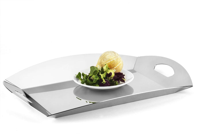 Elleffe Design North America :Plexi Matte Dove Gray Serving Tray in Stainless Steel Grade 18/10 by Elleffe Design