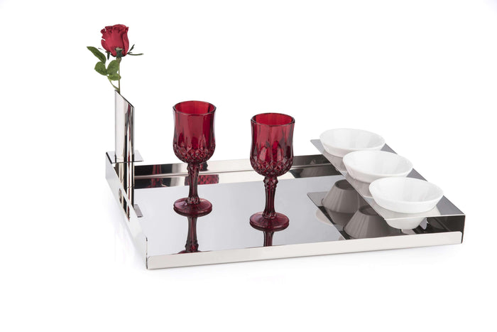 Elleffe Design North America :Albergo Large Breakfast Serving Tray in Stainless Steel Grade 18/10 by Elleffe Design
