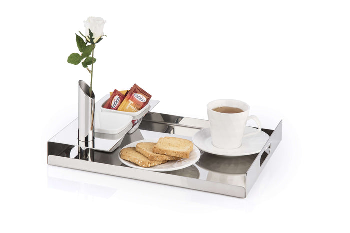 Elleffe Design North America :Albergo Small Breakfast Serving Tray in Stainless Steel Grade 18//10 by Elleffe Design