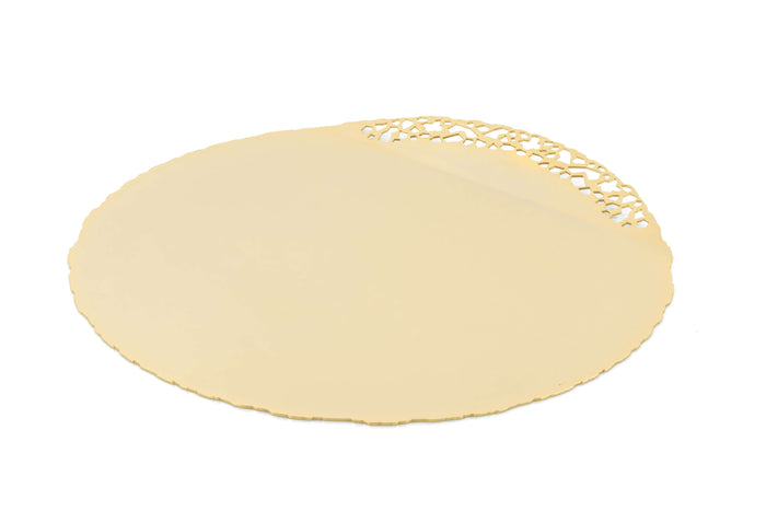 Elleffe Design North America :Mosaico Gold Charger in Stainless Steel Grade 18/10 by Elleffe Design