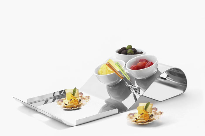 Elleffe Design North America :Surf Condiment Serving Stand in Stainless Steel Grade 18/10 by Elleffe Design