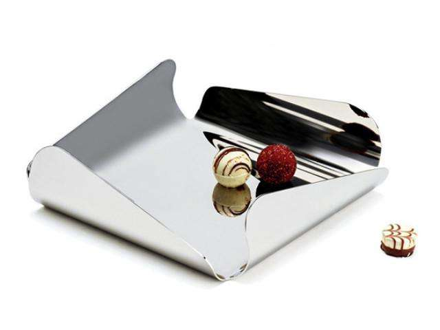 Elleffe Design North America :Ypsilon Small Square Serving Tray in Stainless Steel 18/10 grade by Elleffe Design