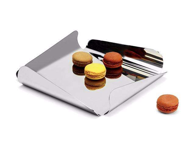 Elleffe Design North America :Ypsilon Large Square Serving Tray in Stainless Steel Grade 18/10 by Elleffe Design