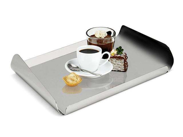 Elleffe Design North America :Ypsilon Small Rectangular ServingTray In Stainless Steel Grade 18/10 by Elleffe Design