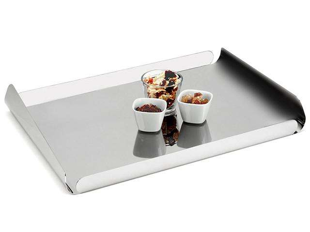 Elleffe Design North America :Ypsilon Large Rectangular Serving Tray In Stainless Steel Grade 18/10 by Elleffe Design