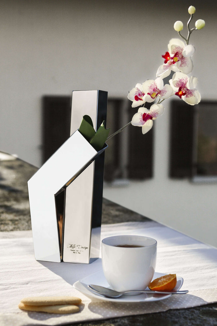 Elleffe Design North America :Design Two Branch Vase in Stainless Steel Grade 18/10 by Elleffe Design
