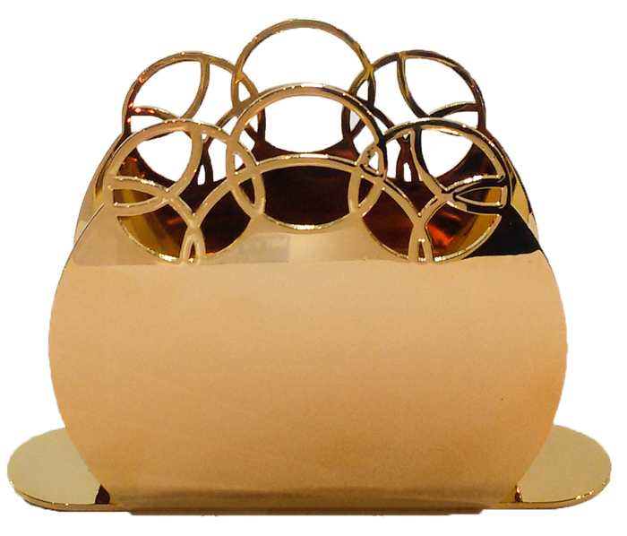 Elleffe Design North America :Bubble Gold Napkin Holder in Stainless Steel
