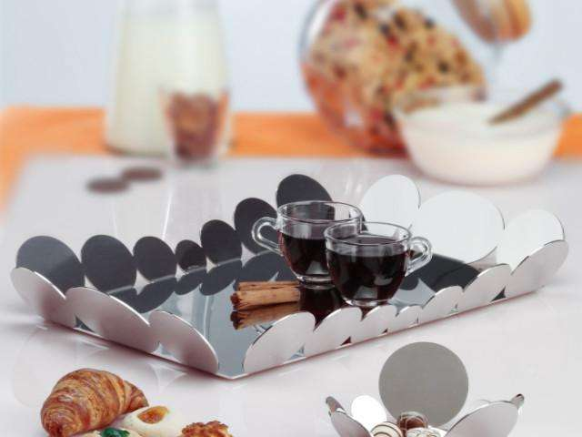 Elleffe Design North America :Ciocco Small Serving Tray in Stainless Steel Grade 18/10 by Elleffe Design