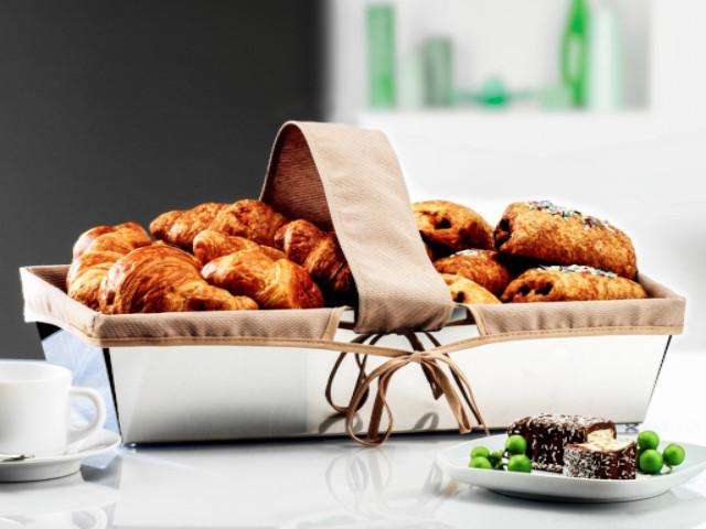 Elleffe Design North America :Juta Large Bread Basket in Stainless Steel Grade 18/10 by Elleffe Design