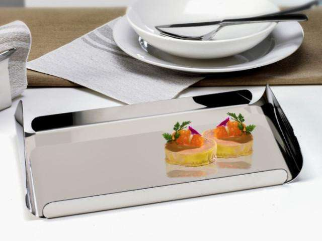 Elleffe Design North America :Ypsilon Medium Rectangular Serving Tray In Stainless Steel Grade 18/10 by Elleffe Design