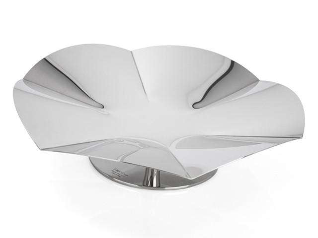 Elleffe Design North America :Alzate Small Concave Serving Stand in Stainless Steel Grade 18/10 by Elleffe Design