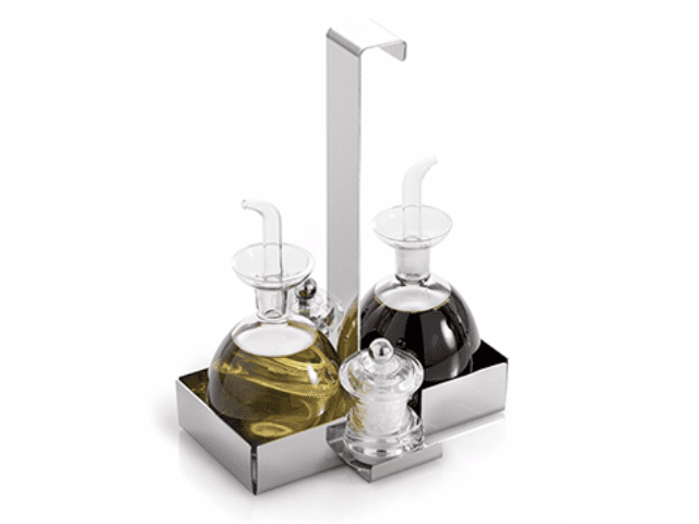 Elleffe Design North America :Juta Oil and Vinegar Cruet With Salt and Pepper Grinders Set in Stainless Steel Grade 18/10 by Elleffe Design