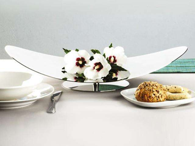 Elleffe Design North America :Centrotavola Medium Curved Serving Stand in Stainless Steel Grade 18/10 by Elleffe Design