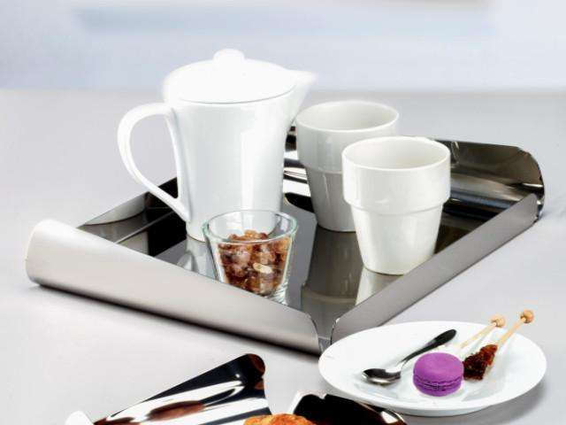 Elleffe Design North America :Ypsilon Medium Square Serving Tray in Stainless Steel Grade 18/10 by Elleffe Design