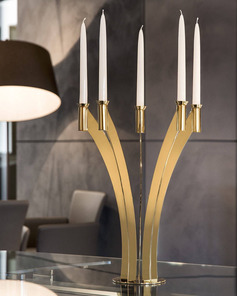 Modern 5 flame Candleholder candleabra in stainless steel grade 18/10 by Elleffe Design